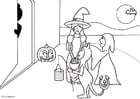 Bilde å fargelegge tryllekunst eller godteri - Halloween