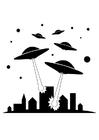 Bilde å fargelegge UFOer