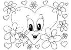 Bilde å fargelegge Valentinsdag blomster