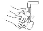Bilde å fargelegge vaske hender