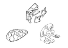 Bilde å fargelegge verktøy i steinalderen