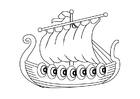Bilde å fargelegge vikingskip