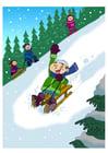 bilde å ha det morsomt i snøen