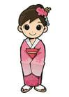 bilde jente i kimono