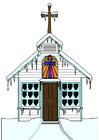 bilde kirke om vinteren