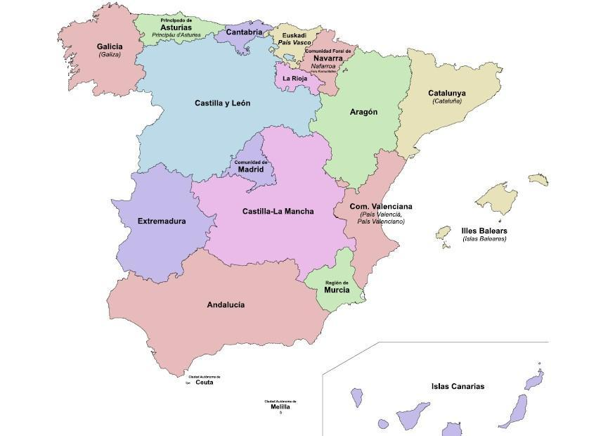 spania kart regioner Bilde regioner i Spania   bil 8324 spania kart regioner