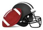 bilde rugby ball og hjelm