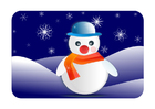 bilde vinter med snømann